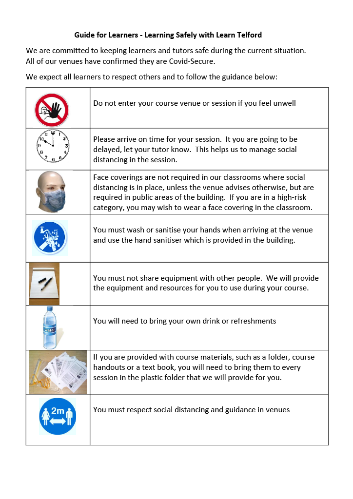 Covid-19 Learner Safety Poster Pg1